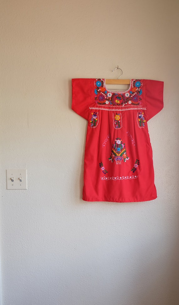 Vintage Mexican Embroidered Dress   Girls Mexico D