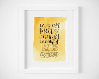 Hunger Games Quote Original Watercolor Art / Katniss Everdeen Quote / Feminist Art / Radiant as the Sun / Hunger Games Gift / Bookworm Gift