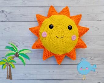 CROCHET PATTERN  Boho Sunshine Throw Pillow  Soleil Sun Cushion  Cozy Fall Home Accent