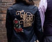 Beauty and the Beast themed custom painted jacket, wifey jacket, personalised jacket
