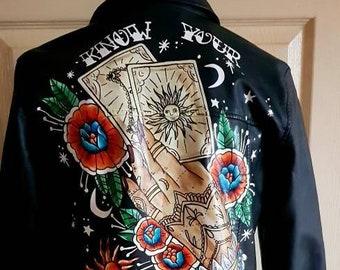 Handpainted tattoo style mystical faux leather jacket, custom painted jacket