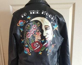 Custom painted traditional tattoo wedding jacket, wifey jacket, bride jacket