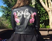 Handpainted faux leather jacket