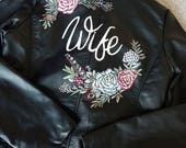 Custom painted faux leather wedding jacket