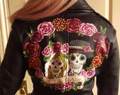 Handpainted custom sugar skull wedding jacket