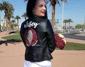 Custom painted leather bridal jacket, floral painted jacket, bespoke jacket, bridesmaid jacket, wifey jacket, custom jacket, bride gift