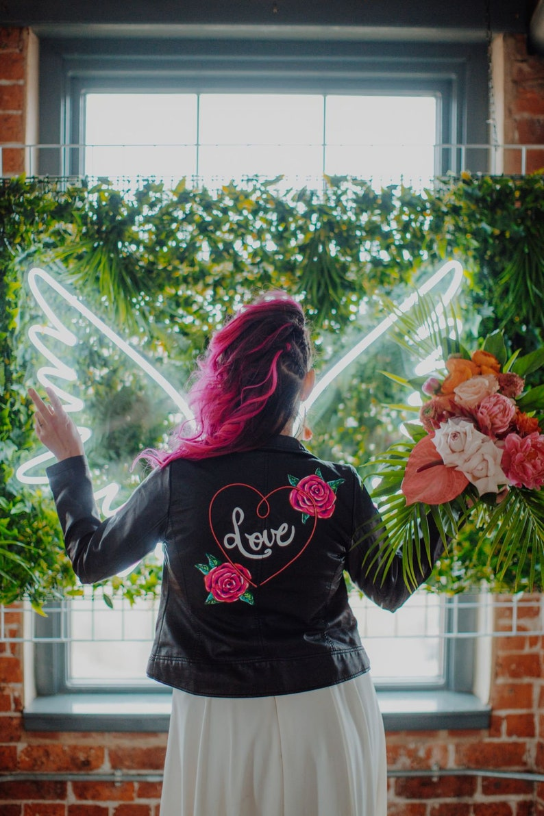 Handpainted faux leather jacket with neon light neon light up wedding jacket