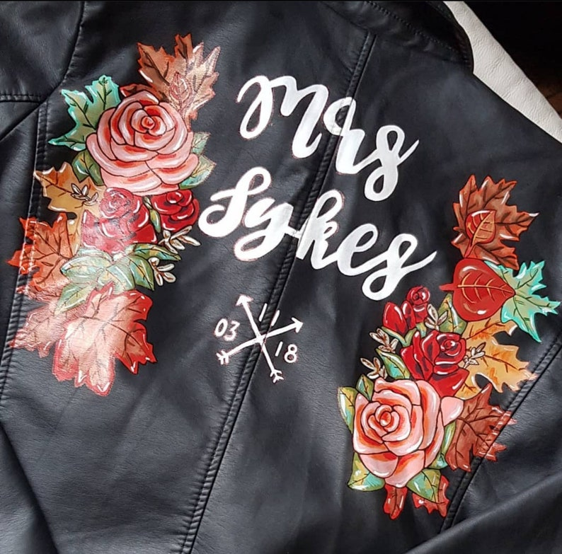 Custom painted personalised wedding jacket handpainted leather bridal jacket