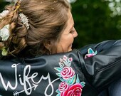 Handpainted custom faux leather personalised wedding jacket, painted wifey jacket for brides or bridesmaids