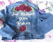 Custom painted personalised wedding jackets, denim bride jacket