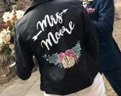 Handpainted custom wedding jacket, faux leather wifey jacket