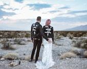 Couples custom personalised wedding jackets, custom painted couples jackets