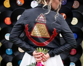 Handpainted custom jacket, bridal jacket, custom leather jacket