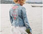 Handpainted custom personalised denim wedding jacket