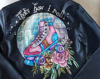 Handpainted faux leather jacket- Rollergirl jacket, Roller Derby
