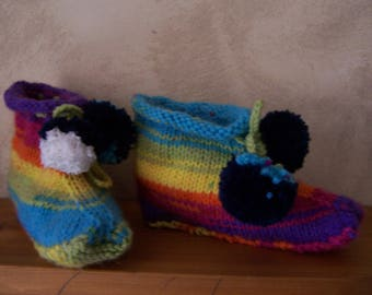 indoor child multicolor knitted handmade slippers