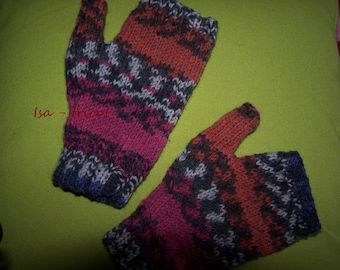 jacquard knitted Handmade wool mittens