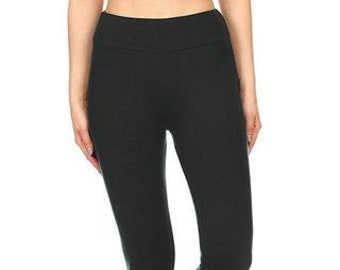 7749879d70f1c Solid Black with Yoga Band - High Quality, Buttery Soft Leggings