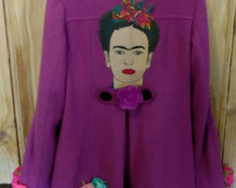 CLEARANCE - Lush lilac-purple flowery frida kahlo coat - UK size 8 - Preloved to Reloved - Ooak - up cycled - perfect for any frida lover