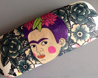 Frida Kahlo fabric collaged glasses case - sunglasses case - Ooak - frida lovers gift