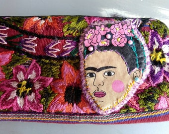 Upcyled embroidered wallet coin purse with Frida Kahlo fabric applique - Pre-loved to Pre-loved - Ooak frida gift