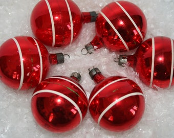 Vintage Glass Christmas Ornaments - Red - Glass Ornament - Mid Century -  Set of 6