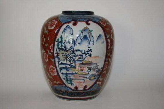Japanese Imari Vase Asian Vase Redbluegold Vase Hand Etsy