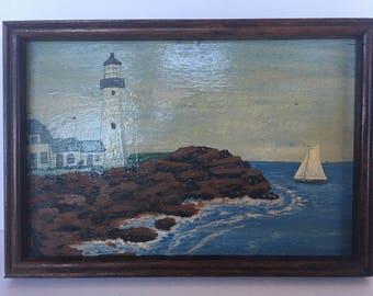 Vintage Original Seascape Oil Painting On Board -Lighthouse Painting - Ocean Painting - Coastal - Sailboat Painting - Americana/American Art