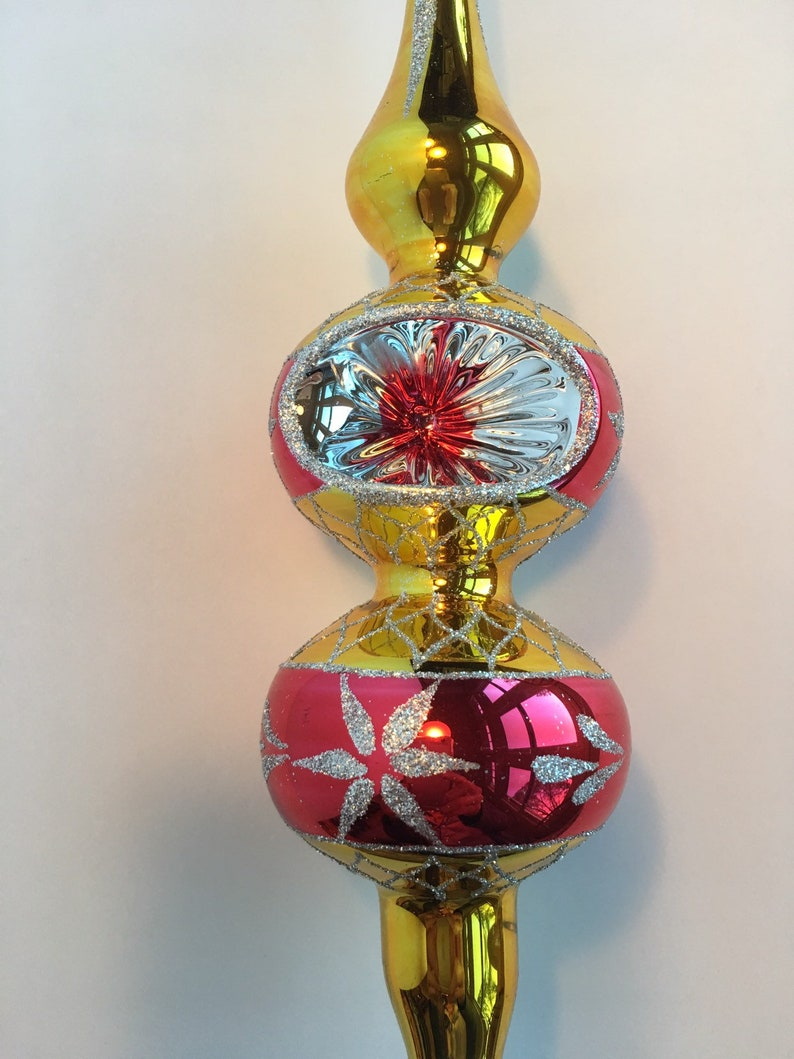Christmas Tree Top Gold and Red Glass Topper Christmas Glass Tree Topper Antique Christmas ornaments Mid Century Shabby Chic