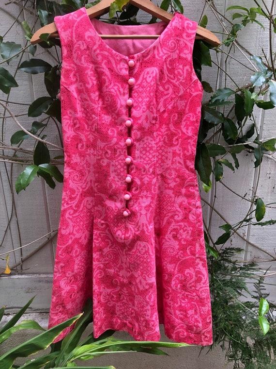 Vintage Mod 60s Pink Rose Psychedelic Mini Dress