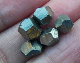 Geometric Pyrite Dodecahedron Set of 5// Pyrite Gemstones, Natural Pyrite Crystal, Platonic Solid, Metaphysical, Sacred Geometry Stones, Gem