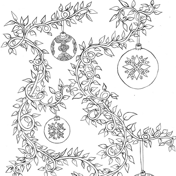 Printable Coloring Page Christmas Vines Etsy