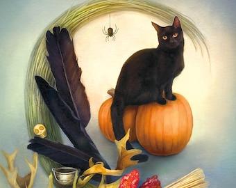 Black Cat Postcard, Witchy Art Postcard, Halloween Postcard, Pumpkin Art Postcard, Witches Broom Art