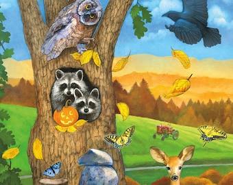 Woodland Animal Halloween Postcard, Raccoon Postcard, Crow Postcard, Owl Postcard, Frog Postcard, Deer Postcard