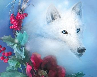 Yule Postcard, White Wolf Christmas Postcard, Winter Solstice Art Card, Holiday Postcard