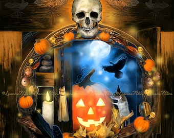 Halloween Art - Skull Art - Pumpkin Art - Jack O'Lantern Art - Crow Art - Candle Art - Witch's Broom