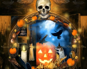 Cabinet Between The Worlds by Leanne Peters - Halloween Art - Fantasy Art - Skull Art - Pumpkin Art - Crow Art - Candle Art - Witch's Broom