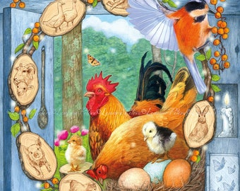 Farm Animals Card, Chicken Card, Easter Card, Spring Animals Greeting Card