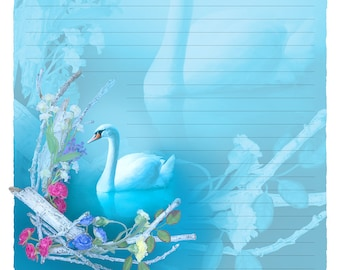 "Digital Stationery Design by Leanne Peters - ""Inner Grace"" - Swan Art - Spring Art - Fantasy Art - Lined Stationery Art"