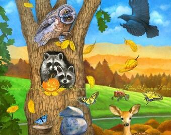 Autumn In The Forest - Woodland Art - Raccoon Art - Deer Art - Pasture Art - Fall Fields