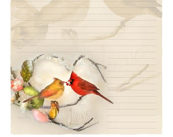 "Digital Stationery Design by Leanne Peters - ""Winter Warmth"" - Cardinal Art - Cardinals - Valentine's Day Gift - Lined Stationery Art"