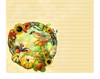 "Digital Stationery Design by Leanne Peters - ""Forest Friends"" - Bird Art - Fall Art - Fantasy Art - Lined Stationery Art - Flower Art"