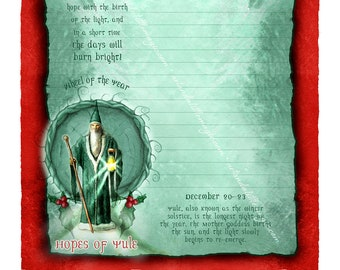 Yule Stationery - Low Holiday - Winter Solstice - Sabbat Art - Digital Stationery - Holiday Art - Seasonal Art - Lined Stationery Art