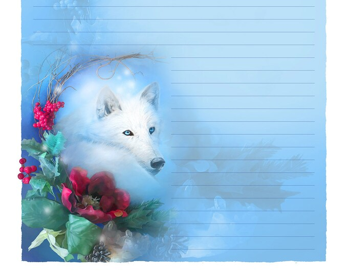 Featured listing image: Wolf Stationery - Wolf Stationary - Digital Stationery - Holiday Art - Seasonal Art - Christmas Art - Lined Stationery Art