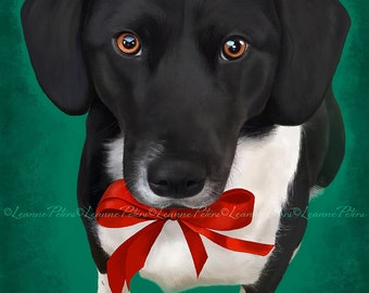Christmas Art - Seasonal Art - Dog Art - Tuxedo Dog -Lab Mix - Cute Dog Art