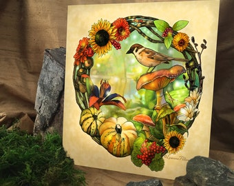 Forest Friends by Leanne Peters - Nature Art - Bird Art - Fantasy Art - New Age Art - Forest - Magic - Flower Art - Wreath - Digital Art
