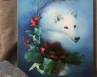 Wild Winter Solstice by Leanne Peters  Canvas Gallery Wrapped Print - Wolf Art - Winter Art - Seasonal Art - Fantasy Art