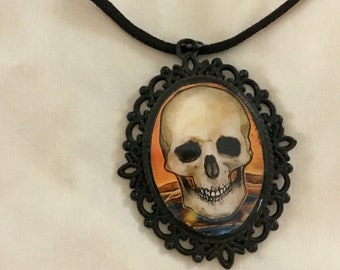 Skull Halloween Pendant, Skull Necklace, Halloween Jewelry, Witchy Jewelry