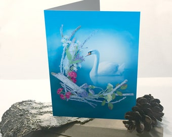 Greeting Card - Swan Card - Nature Themed Card - Swan Greeting Card - Any Occasion Card - Flower Card