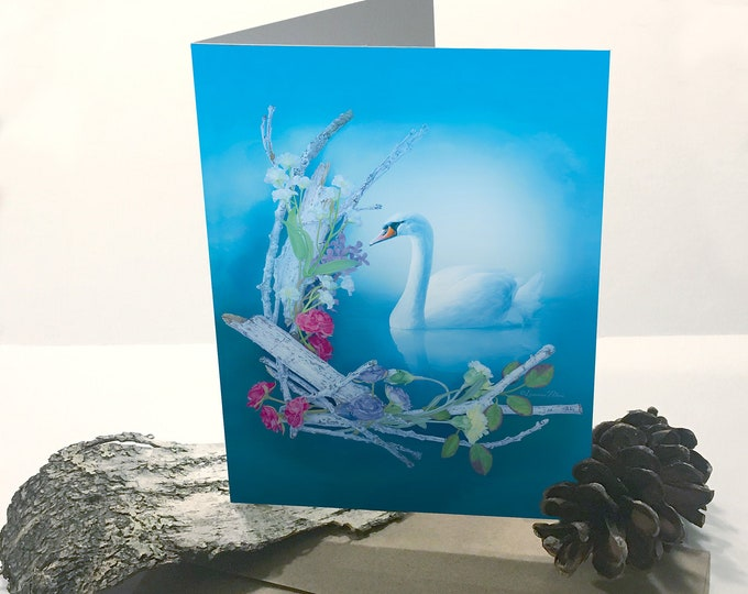 Featured listing image: Greeting Card - Swan Card - Nature Themed Card - Swan Greeting Card - Any Occasion Card - Flower Card